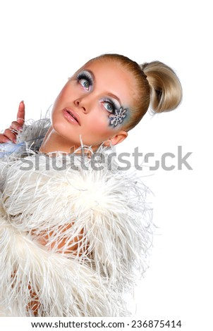 Portrait of woman with winter make up - stock photo