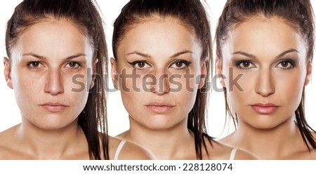 Portrait of woman without , with wrong makeup and with right makeup  - stock photo