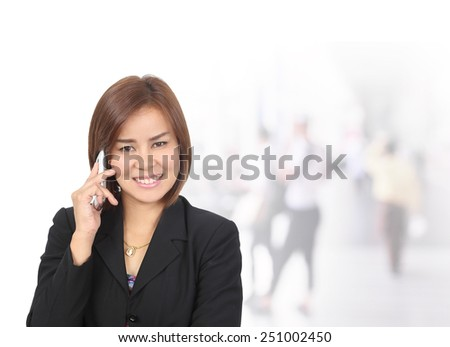 portrait of women call center or female customer support phone operator wearing microphone headset at Customer Service.Positive emotion .copy space area for text message