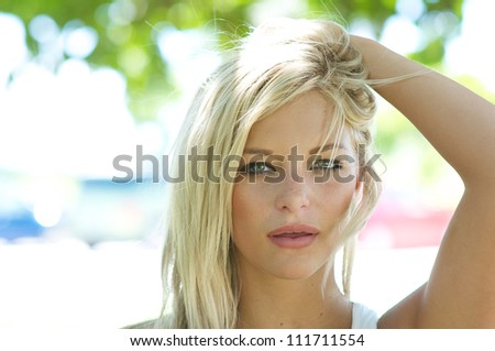 Portrait of women with green eyes - stock photo