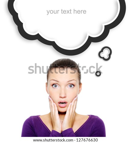 Portrait of wondering and surprise woman face over white background