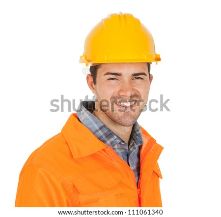 Portrait of worker wearing safety jacket. Isolated on white