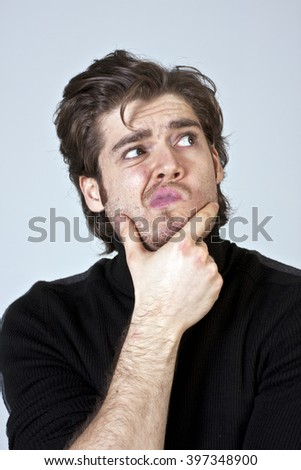 Portrait of Worried Man - stock photo