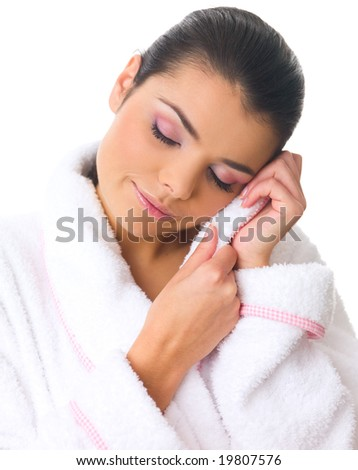 Portrait of 20-25 years old beautiful woman wearing bathrobe