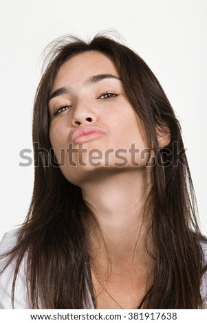 Portrait of young adult Caucasian woman - stock photo
