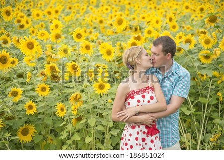 Portrait of Young adult  loving couple embracing and kissing in green and yellow agricultural sunflower field or meadow background Copy space for inscription Summer fresh kiss  - stock photo