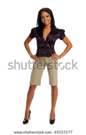 Portrait of young African American businesswoman posing isolated over white background - stock photo