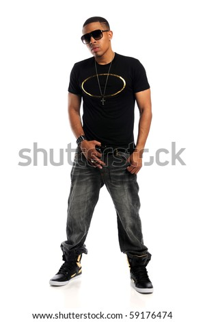 Portrait of young African American hip hop man standing isolated over white background - stock photo