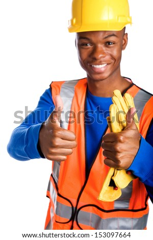Portrait of young African-American male construction worker giving two thumbs up, studio shot isolated on white background - stock photo