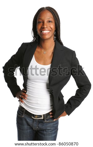 Portrait of young African American woman isolated over white background