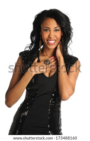 Portrait of young African American woman smiling isolated over white background - stock photo