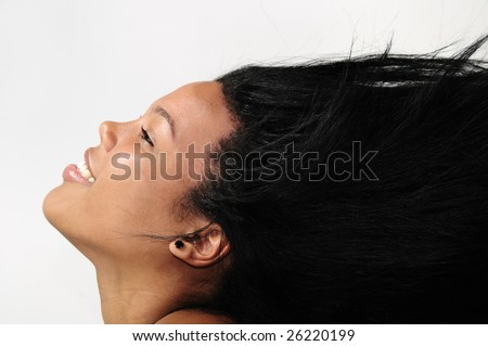 Portrait of young african american woman with long hair - isolated - stock photo