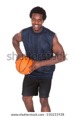 Portrait Of Young African Basketball Player Isolated Over White Background