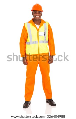 portrait of young african industrial worker isolated on white background - stock photo