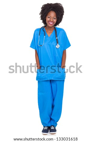 portrait of young african nurse full length portrait isolated on white background - stock photo
