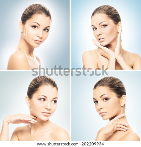 Portrait of young and attractive and healthy woman. Plastic surgery, makeup and face lifting concept.  - stock photo