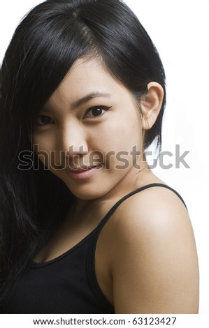 Portrait of young and beautiful Asian girl - stock photo
