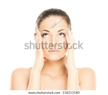 Portrait of young and beautiful woman. Spa, surgery, face lifting and make-up before and after concept.  - stock photo