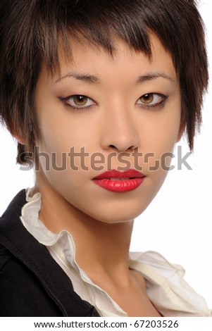 Portrait of young Asian woman isolated on a white background - stock photo