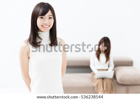 portrait of young asian women in the living room