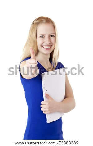 Portrait of young attractive blond student holding a college notepad. Isolated on white background.