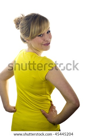 Portrait of Young Attractive Blonde Woman - stock photo
