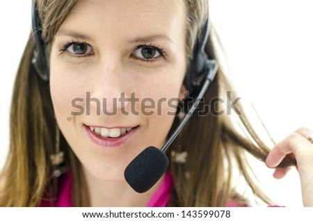 Portrait of young attractive customer service representative. - stock photo