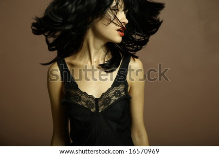 Portrait of young attractive lady. Fashion photo - stock photo