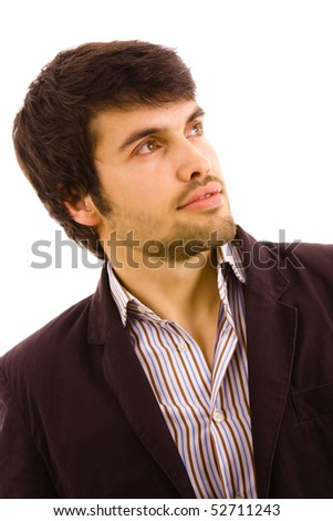 Portrait of young attractive man, isolated on white