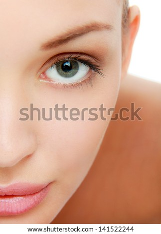 Portrait of young attractive woman isolated on white - stock photo