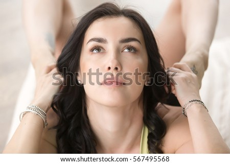 good frustrated young woman looking her stock photo