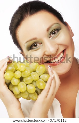 Portrait of young attractive woman with green grapes