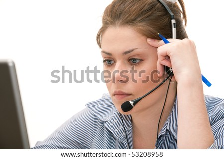 Portrait of young attractive woman working at office. Laptop on table - stock photo