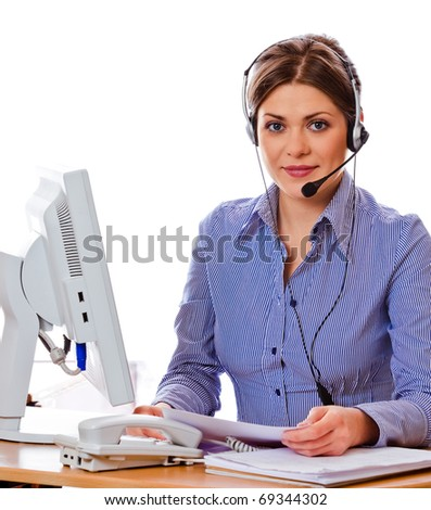 Portrait of young attractive woman working at office. On-line consultation. - stock photo