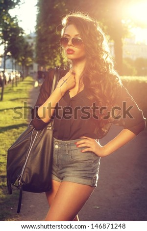 portrait of young beautiful and elegant stylish girl           - stock photo
