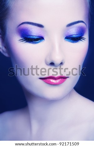 Portrait of young beautiful asian girl with stylish make-up