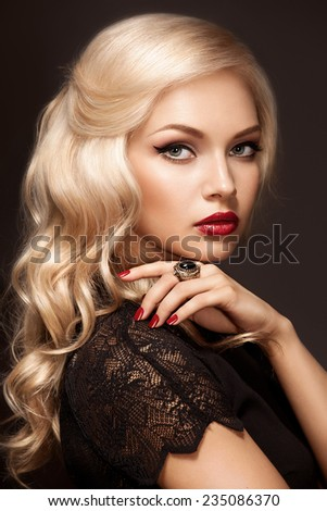 Portrait of young beautiful blonde - stock photo