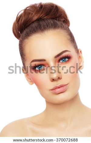 Portrait of young beautiful blue-eyed woman with stylish sunny make-up over white background - stock photo