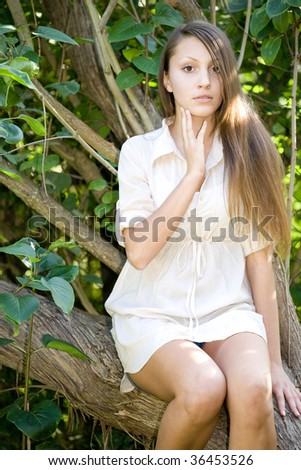 portrait of young beautiful brunette woman