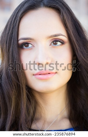 Portrait of young beautiful brunette woman with fashion makeup, head shot  - stock photo
