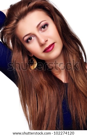 Portrait of young beautiful brunette woman with  long glossy hair