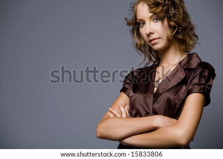 Portrait of young beautiful fashion model. - stock photo