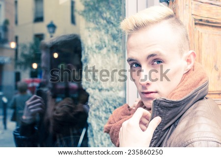 Portrait of young beautiful fashionable man - stock photo