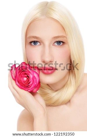 Portrait of young beautiful fresh blond woman with pink rose in her hand, on white background - stock photo