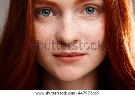 portrait young beautiful ginger girl over stock photo (edit now