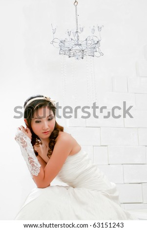 Portrait of young beautiful girl in lonely action - stock photo