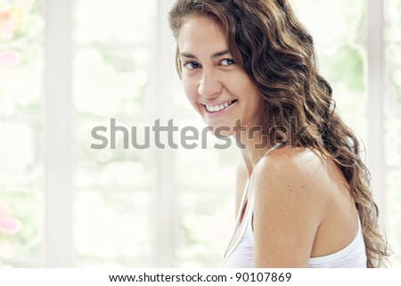 portrait of young beautiful girl on  color  back - stock photo