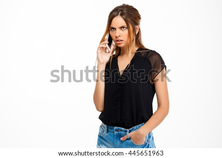 Portrait of young beautiful girl over white background. Copy space.