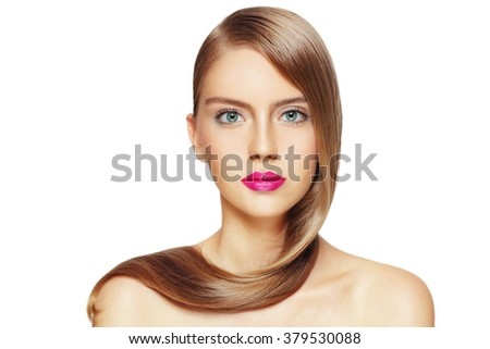 Portrait of young beautiful girl with long hair and fuchsia lipstick over white background, copy space