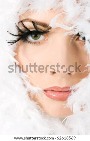 Portrait of young beautiful girl with make-up - stock photo